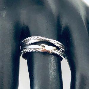 David Yurman 8 Single X Crossover Ring 18k